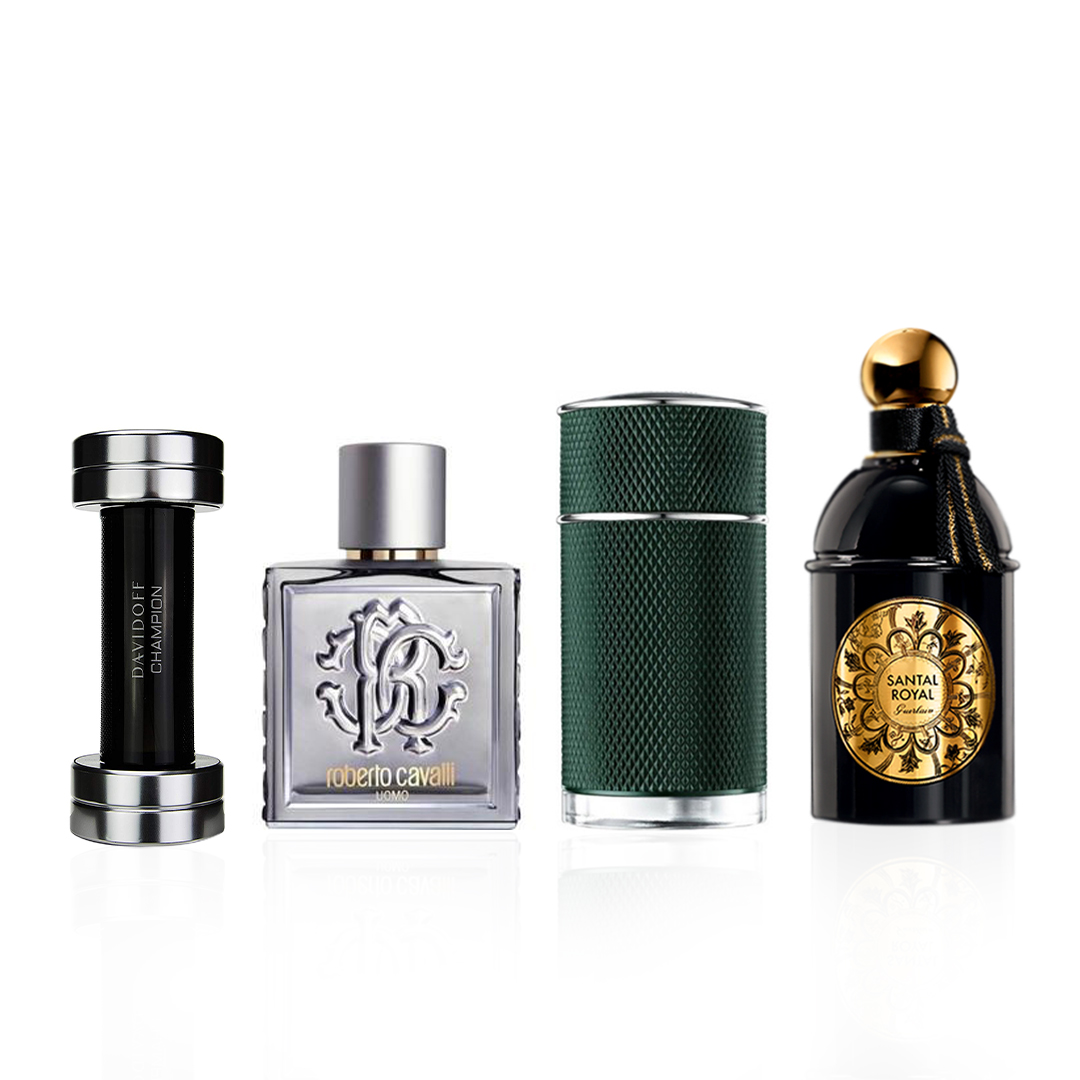 Guerlain Santal Royal / Roberto Cavalli Uomo Silver Essence / Davidoff Champion / Dunhill Icon Racing